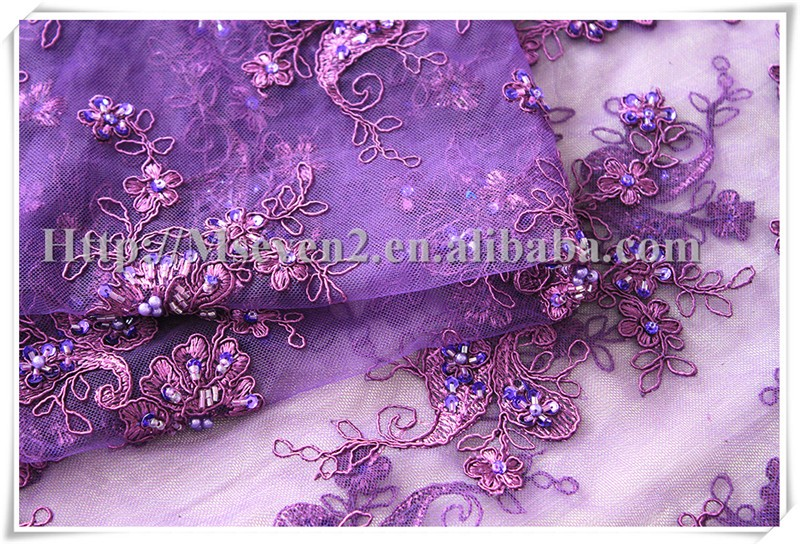 Elegant Bridal Lace Fabric purple border lace beads crochet lace fabric for wedding
