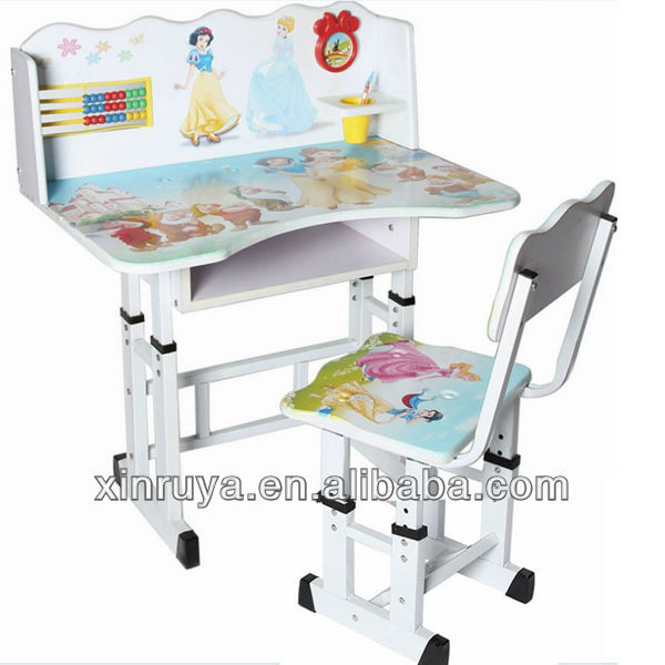 China Design Sticker Wooden Children Desk And Chair Set