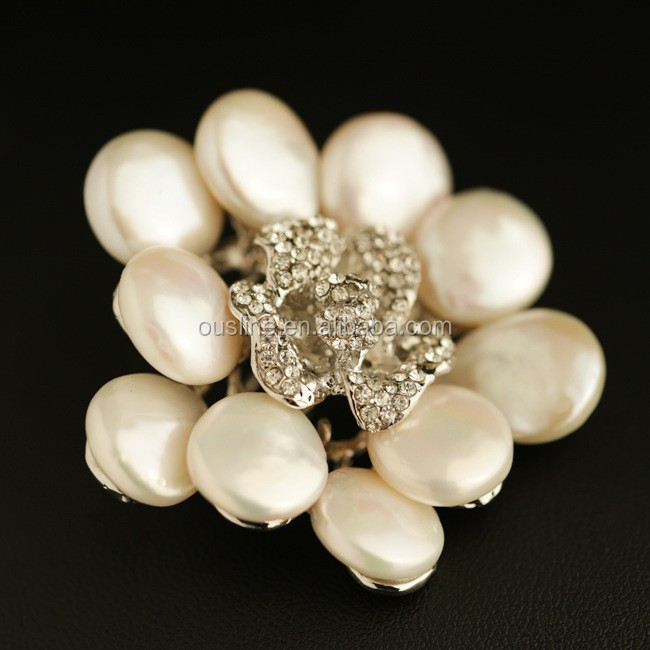 handmade natural abnormal pearl brooch pin, exclusive originality flower jewelry brooches BRC-0201