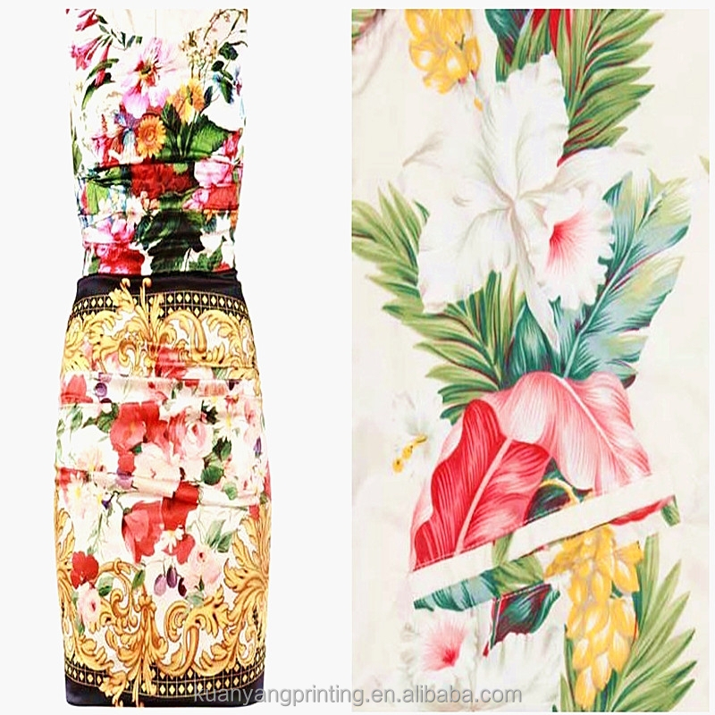 sublimation print polyester plain stretch women dress
