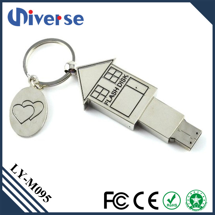Promotional house shape usb flash drive,pen drive 500gb,custom metal usb
