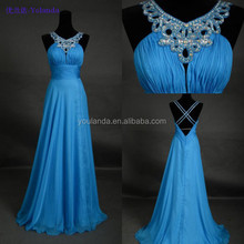 On stock real images sheath jewel crystal blue sexy evening dress 2015