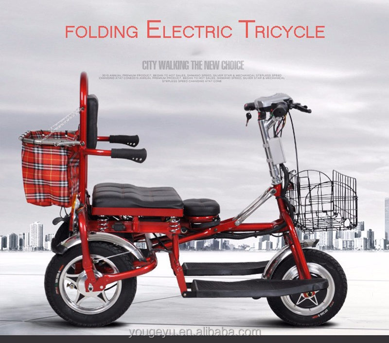 Three wheels electric tricycle for older men electric tricycles safe fast fold electric motocycle