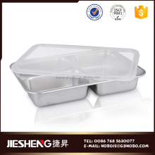 Bulk rectangular dinner plate stainless steel divided food tray