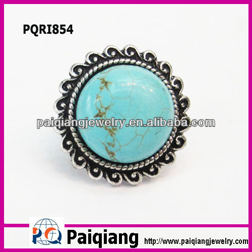 Fashion jewelers diamond magnetic copper turquoise finger ring