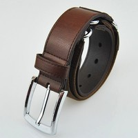 "1.3"" Hight quality chocolate cheap PU leather men belt with canvas alloy buckle"