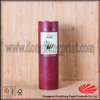 Hot foil cardboard round tube wine gift box with metal lid