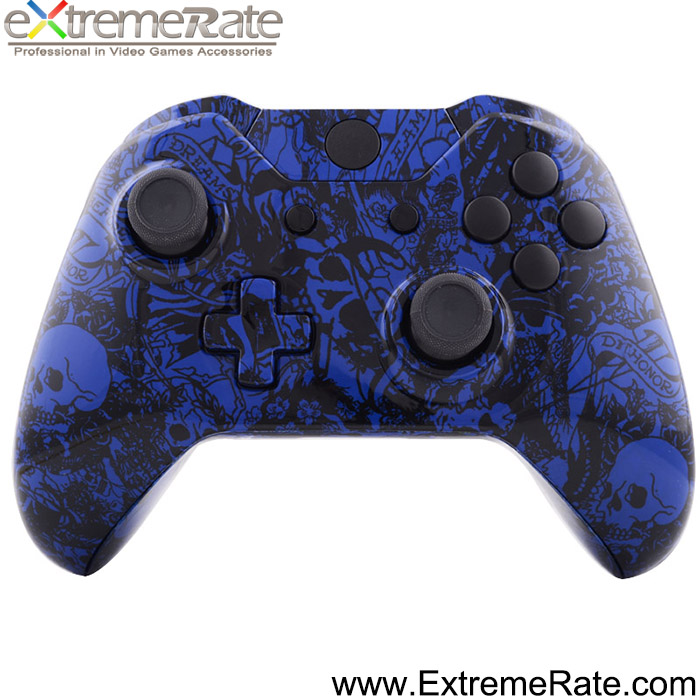 Grave Blue Skull Replacement Housing Shell Kits For XBOX One Controller