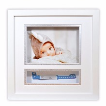10x10 Baby Shadow Box Frame with White/Silver Double Mat and ID Band Insert