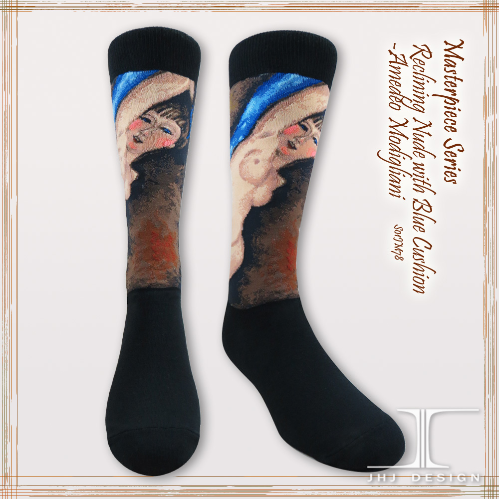Fashion novelty Reclining Nude with Blue Cushion crew socks/Naked socks
