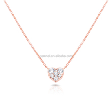 Heart choker chain neckalce fine silver jewelry rose gold