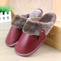 Real Genuine Leather Women Men Couples Home Slippers For Indoor House Bedroom Shoes Comfortable Plush Unsex Warm Winter Flats