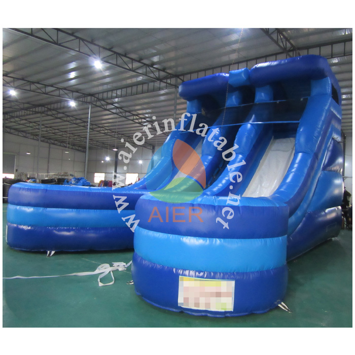 AIER Double line water slide, <strong>inflatable</strong> wet or dry slide with pool, durable outdoor slide
