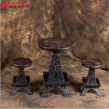Bar Coffee Tea Set Furniture Table Seat Chairs Bar Rotating Lifting Chair Industrial Loft Wooden Metal Bar Stool Desk
