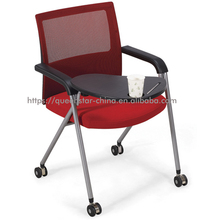 QS-NTC06 training chair nesting with casters movable and foldable with armrest with writing tablet