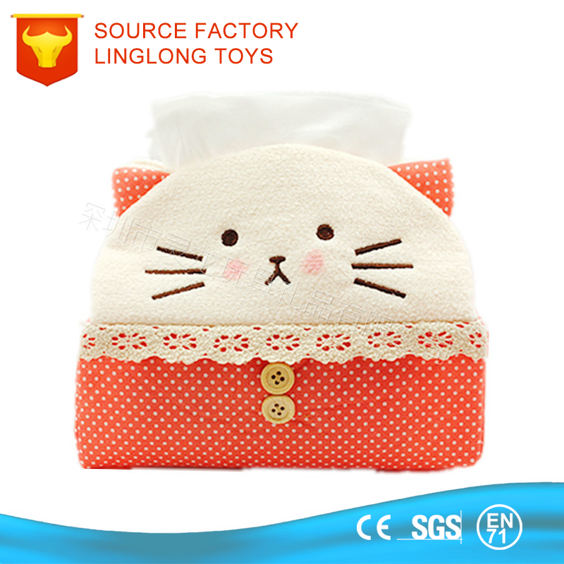 Plush Spot Embroidery Cat Paper Tissue Box Stuffed Red Kitten Napkin Cover Plush Cat Tissue Box