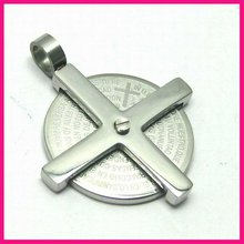 fashion steel laser engraved round large rotating cross pendant necklace clip pendant