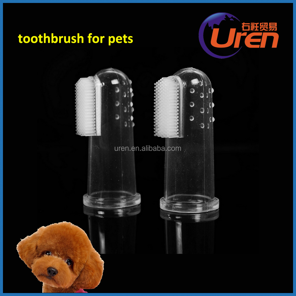 High quality soft latex safe dog grooming finger pet toothbrush disposable