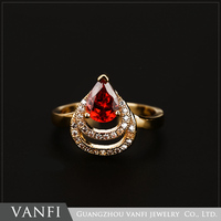 Unique design wholesale fashion ruby gold plated diamond ring