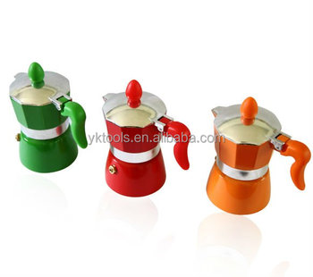 colorful aluminum coffee maker
