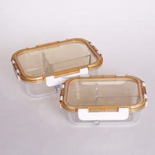 glass food storage box with divider of new open seperated lid