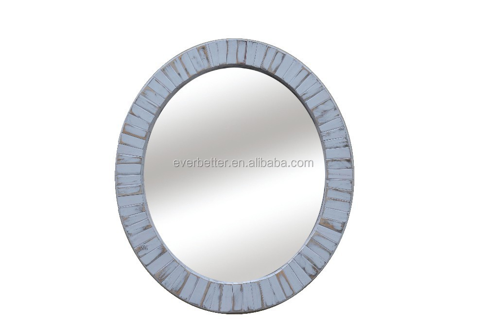 Wood white entrance round carved frame mirror