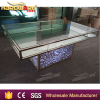 glass top led light stainless steel wedding square dining table