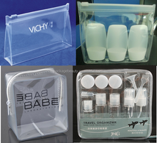 Heat seal silkscreen printing ziplock customized clear pvc cosmetic pouch with zipper