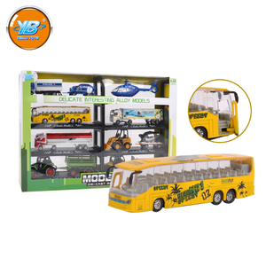Yibao kids 8pcs 1:28 scale alloy metal model luxury tour bus toy with opening doors