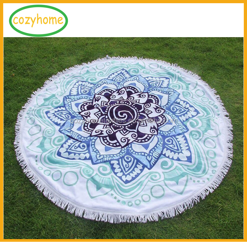 Mandala Lotus Round Beach Towel with tassels,Original Design 59 Inches Super Absorbent Large Thick Round Beach Blanket Mandala