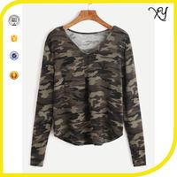 women's V Neck camo long sleeve 95 cotton/5 elastane camouflage t shirt