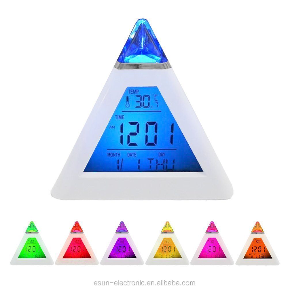 7 LED Color Changing Integrated Digital LCD Alarm Clock Display Thermometer Date Time Night Light Desktop Table Clock