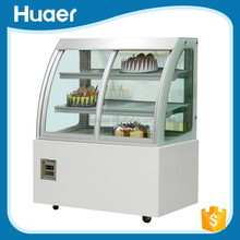 cheap supermarket cake showcase refrigerator Double sliding door cake showcase/ glass cake display cabinet