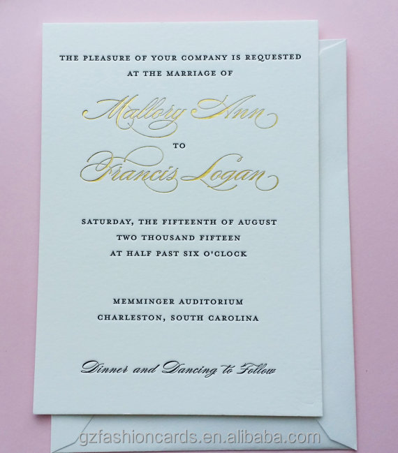 Letterpress and Gold Foil Printing Invitations