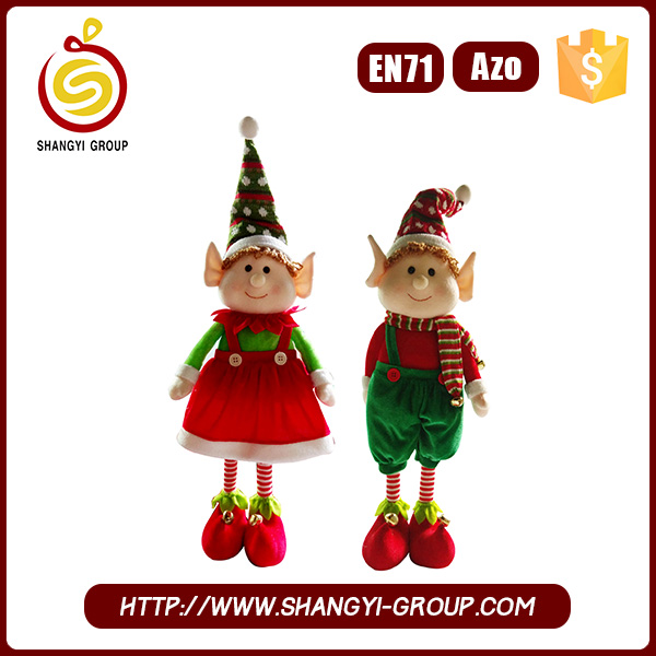 Standing small boy and girl plush christmas plush toy elf on shelf