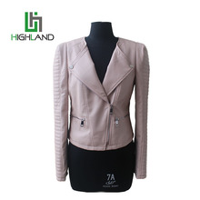 Hot Sale Fashion Short Pink Jackets Womens PU Leather Jacket