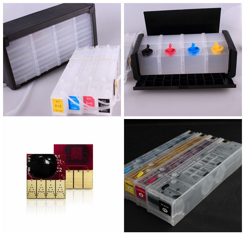 Compatible 250ml and 1000ml CISS ink system for HP X451 X551 X476 X576 (970/971) with resettable chips always showing ink level