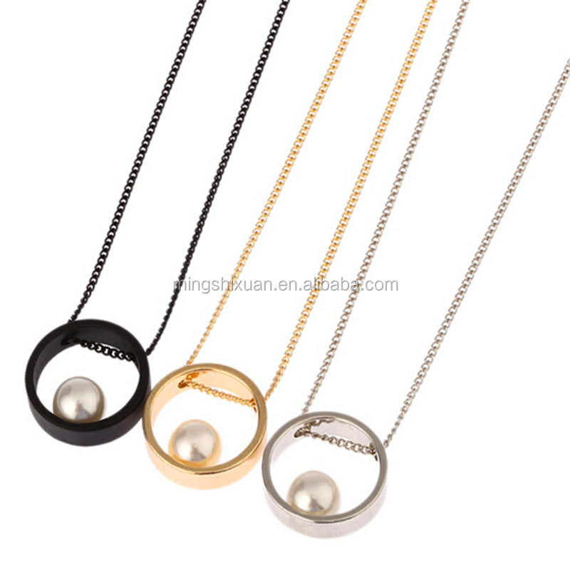 New update wholesale cheap gift necklace, round shaped pendants necklace