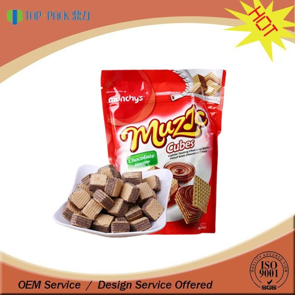 Customize resealable alumiunm foil for chocolate wrapping stand up packaging bag