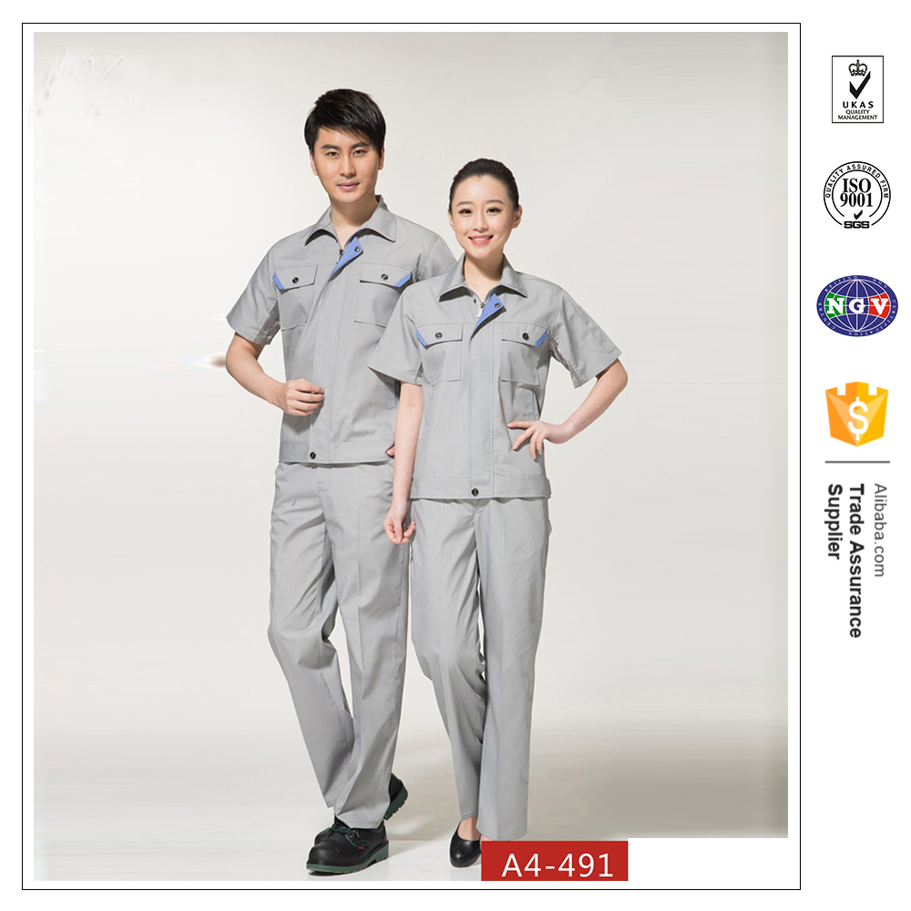 China OEM custom design fashsionable workwear uniform industrial uniform short sleeve