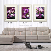 Modern Digital Printings 3 Panel Commercial Painting Purple Flowers Framed Oil Painting for Wall Decoration