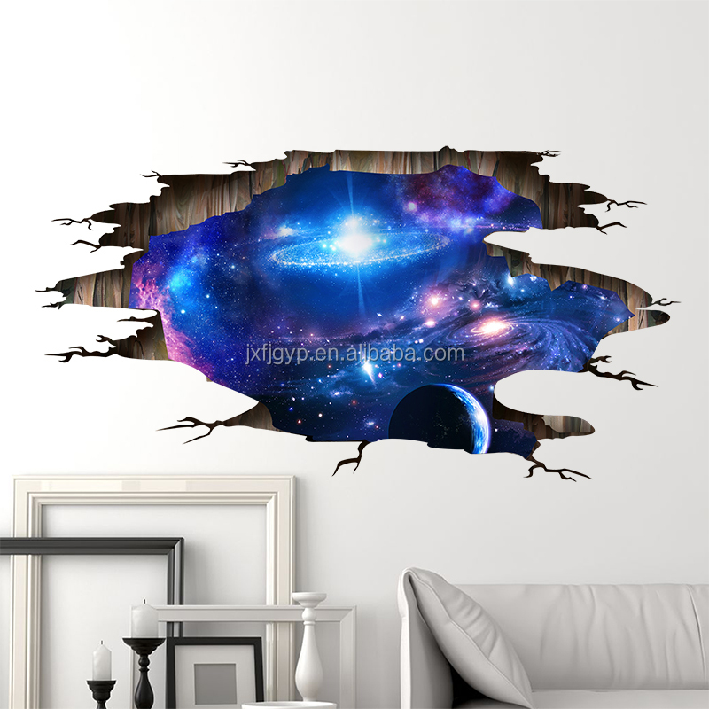 Removable fantasy cosmic planet pattern ceiling decor wall decal 3d stereo