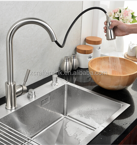 X-crafter Hot Sell Stainless Steel Handmade , Customized <strong>Kitchen</strong> <strong>Sink</strong> with Faucets in USA