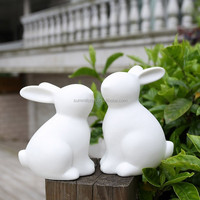ceramic white adorable bunny figurine set