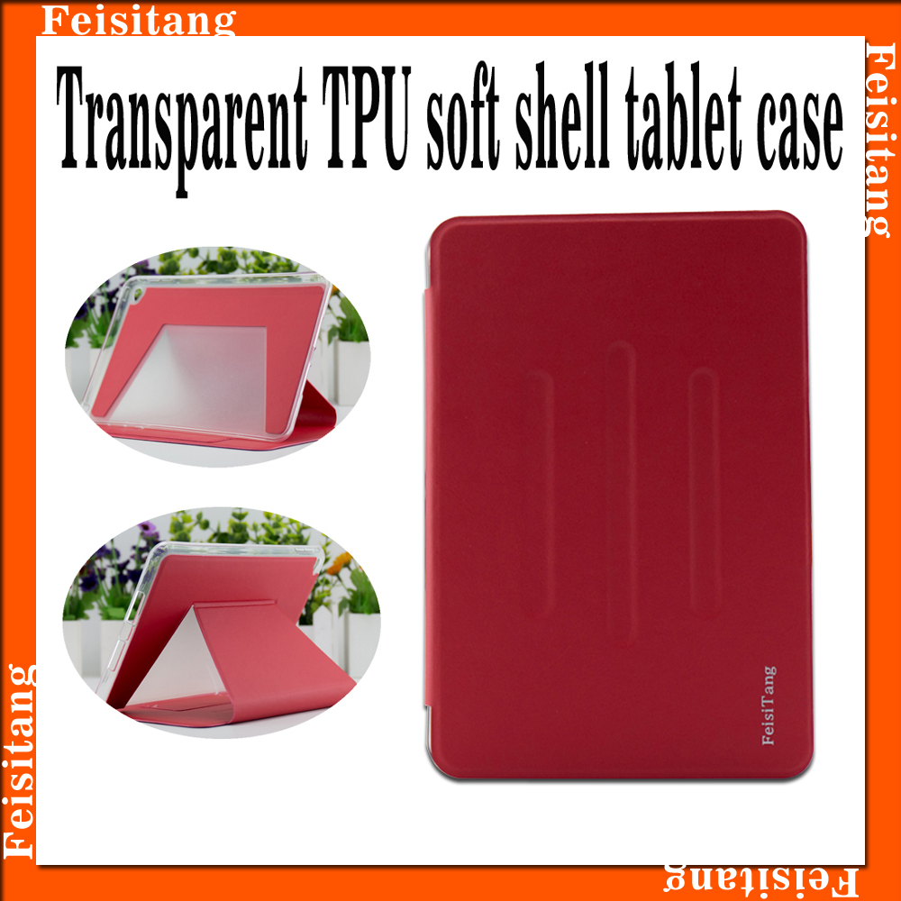 Transparent TPU soft shell 7.9 inch tablet case, PU leather tabelt case for Mini4