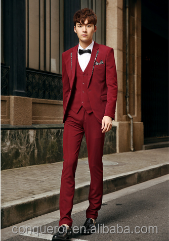 2015 men elegant red tuxedo dress suits