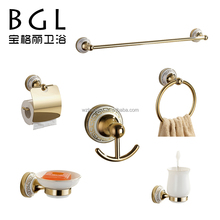 No.11800 Modern design Zinc alloy Gold finishing Wall mounted Ceramic Bathroom accessory set
