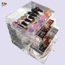 acrylic vanity organizer cosmetic display case compact storage acrylic case 5 drawers