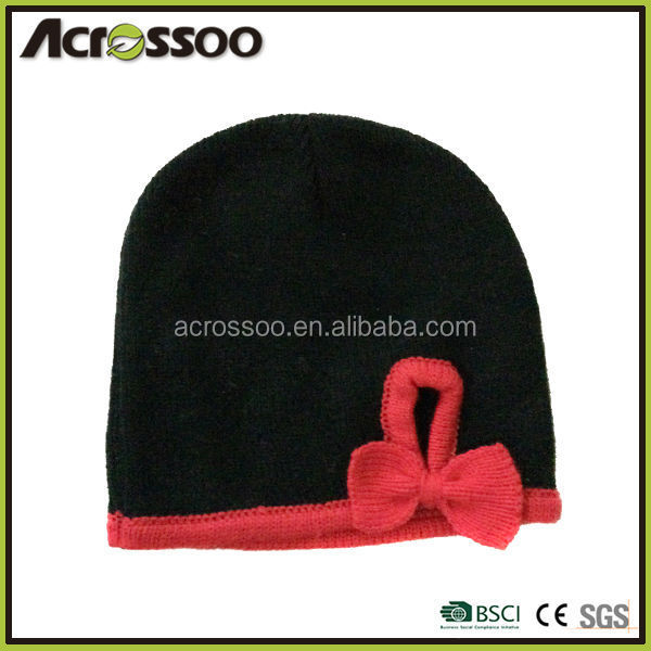 Funny girl's acrylic knitted bow hat, black knit beanie with red brim