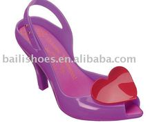 new design plastic jelly mid heel shoes women ,hot selling woman jelly sexy shoe